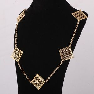 NIB Tory Burch square gold long necklaces